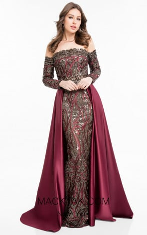Terani 1821E7128 Wine Black Front Evening Dress
