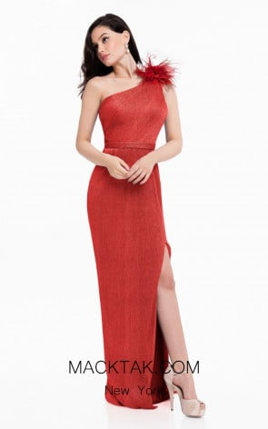Terani 1821E7138 Red Front Evening Dress