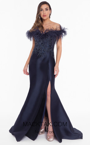 Terani 1821E7142 Navy Front Evening Dress