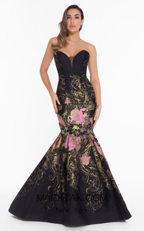 Terani 1821E7160 Black Fuchia Front Evening Dress