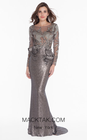 Terani 1821GL7402 Gunmetal Nude Front Evening Dress