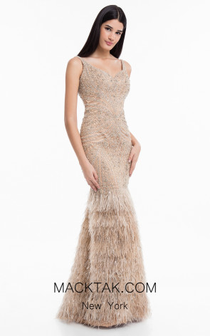 Terani 1821GL7429 Nude Front Evening Dress