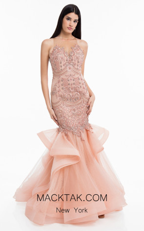 Terani 1821GL7445 Rose Blush Front Evening Dress