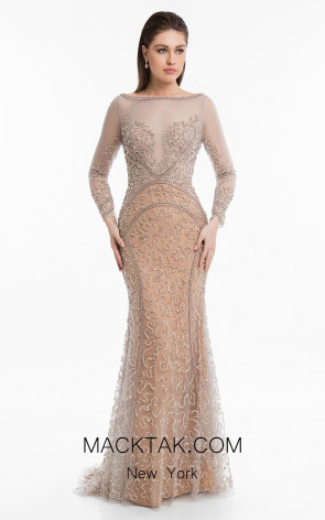Terani 1821GL7448 Silver Rose Gold Front Evening Dress