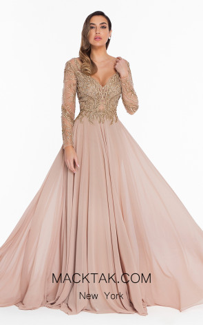 Terani 1821M7563 Gold Nude Front Evening Dress