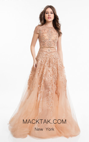Terani 1821M7565 Rose Gold Front Evening Dress