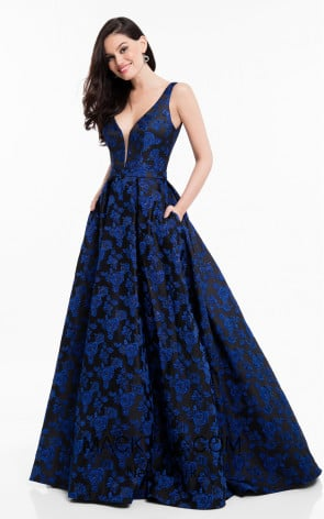 Terani 1822E7266 Royal Black Front Dress