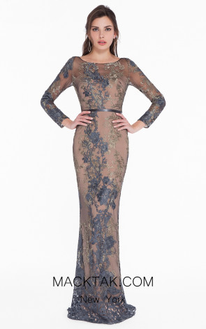 Terani 1822E7292 Gunmetal Gold Front Dress