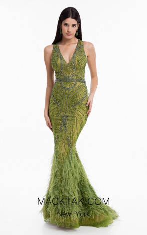 Terani 1822GL7493 Olive Front Evening Dress