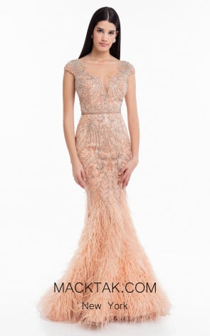 Terani 1822GL7501 Peach Front Evening Dress