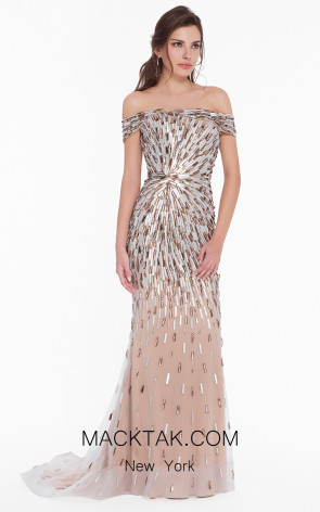 Terani 1823GL7540 Silver Nude Front Evening Dress