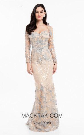 Terani 1823M7706 Silver Nude Front Evening Dress
