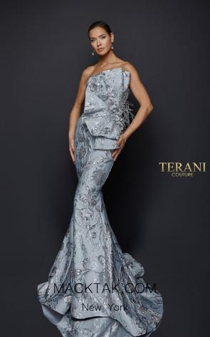 Terani Couture 1921E0137 Gray Front Evening Dress