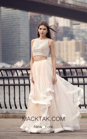 Terani 1811P5737 White Nude Dress