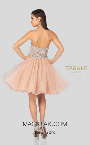 Terani Couture 1911P8016 Blush Nude Back Dress