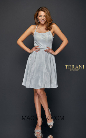 Terani Couture 1921H0338 Ivory Silver Front Dress