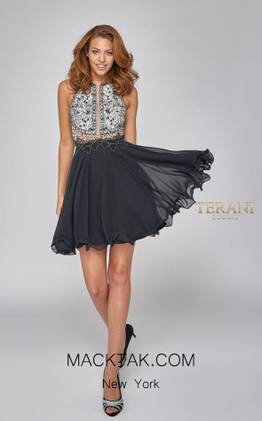 Terani Couture 1921H0407 Black White Front Dress
