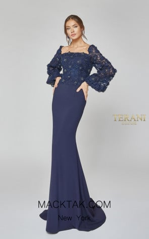 Terani Couture 1921M0489 Navy Front Dress