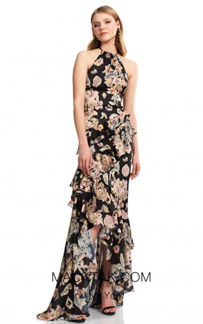 Theia Couture 883718 Black Multi Front Dress
