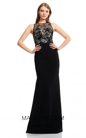 Theia Couture 883748 Black Multi Front Dress