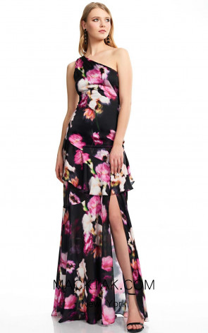 Theia Couture 883700 Black Multi Front Dress