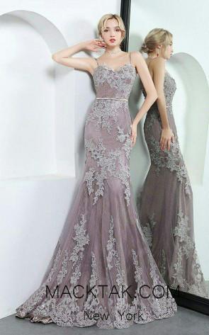 TK A09248 Purple Front Dress