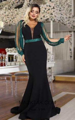 TK DA027 Black Green Front Evening Dress