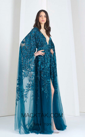 Tony Ward 03 Blue Front Evening Dress