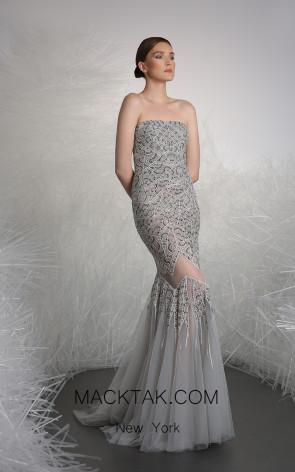 Tony Ward 11 Gray Front Evening Dress