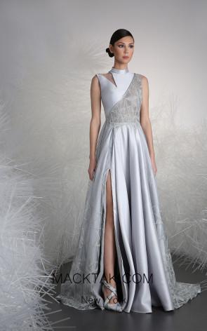 Tony Ward 14 Silver Front Evening Dress