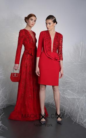 Tony Ward 1B Red Front Evening Dress