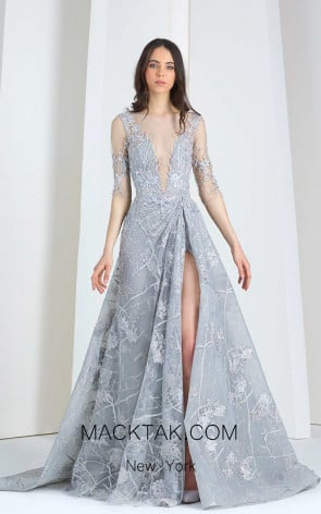 Tony Ward 21 Gray Front Evening Dress