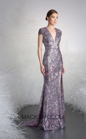 Tony Ward 27 Purple Front Evening Dress