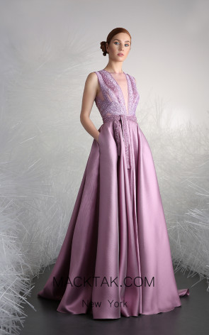Tony Ward 28 Purple Front Evening Dress
