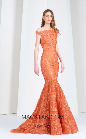Tony Ward 32 Orange Front Evening Dress