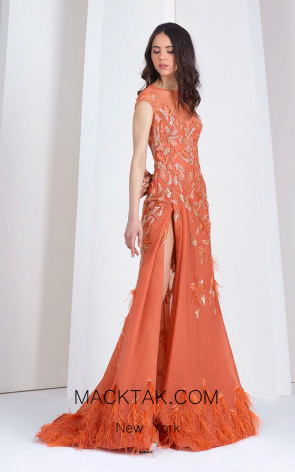 Tony Ward 34 Orange Front Evening Dress