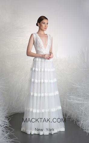 Tony Ward 37 White Front Evening Dress