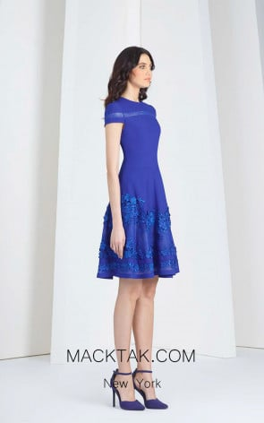 Tony Ward 38 Blue Front Evening Dress