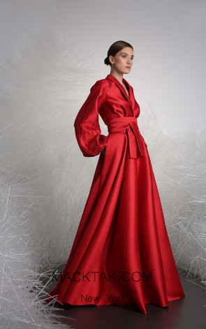 Tony Ward 3 Red Front Evening Dress