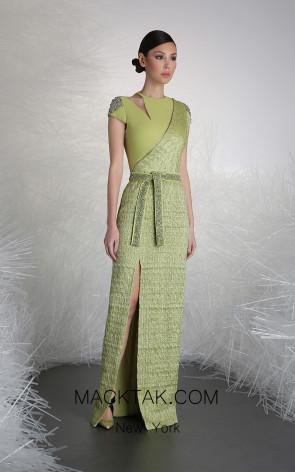 Tony Ward 42 Green Front Evening Dress