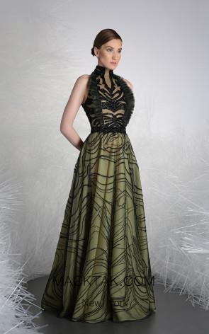 Tony Ward 46 Green Front Evening Dress