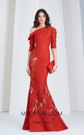 Tony Ward 47 Red Front Evening Dress