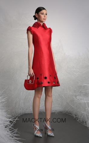 Tony Ward 4 Red Front Evening Dress