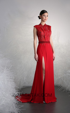Tony Ward 6 Red Front Evening Dress