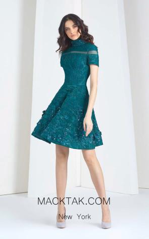 Tony Ward FW02 Bluish Green Front Evening Dress