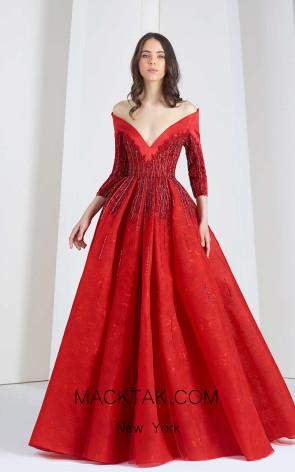 Tony Ward FW48 Red Front Evening Dress