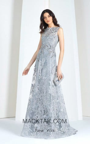 Tony Ward T17 Gray Front Evening Dress
