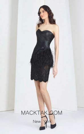 Tony Ward T27 Black Front Evening Dress