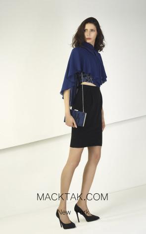 Tony Ward TW22 Blue Black Front Evening Dress