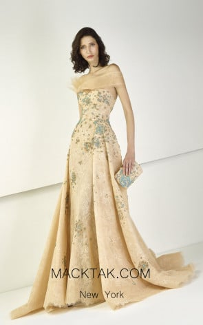 Tony Ward TW38 Skin Aqua Front Evening Dress
